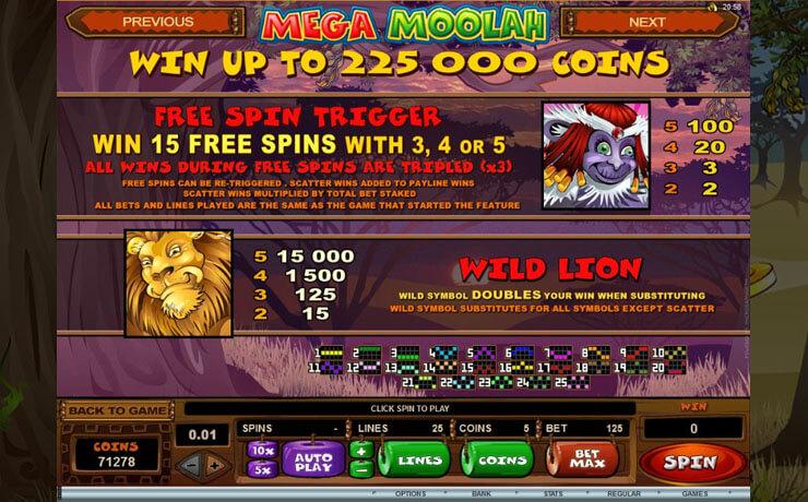 Mega Moolah Screenshot #2